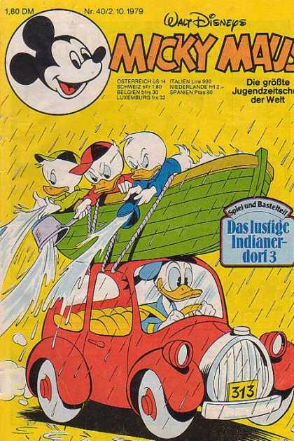 Micky Maus 1242 - Boat - Raining - Bailing Out Water - Donald Duck - Louie