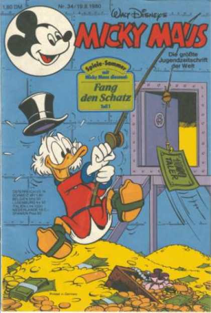 Micky Maus 1272 - Scrooge Mcduck - German Scrooge Mcduck - German Walt Disney - Fang Den Schatz - Lots Of Money On The Front