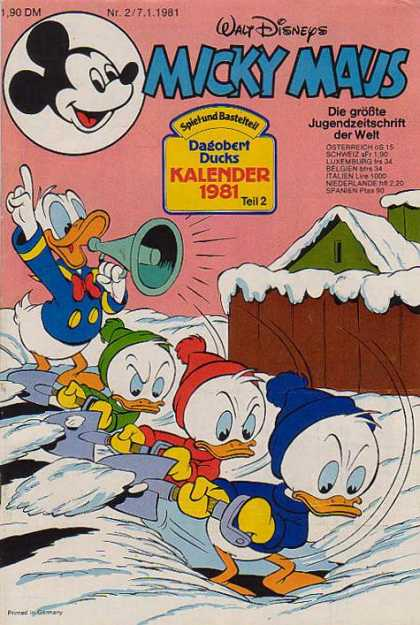 Micky Maus 1280 - German Disney - Donald Duck - Donald Ducks Nephews - Stuck In Snow - Digging Out Of Snow