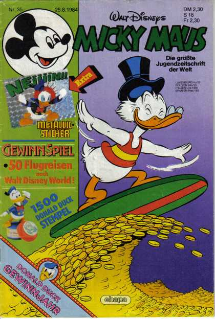 Micky Maus 1470 - Donald Duck - Surfing - Gold - Coins - Wave