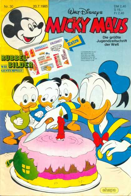 Micky Maus 1491 - Candle - Birthday Cake - Balloon - Donald Duck - Knife