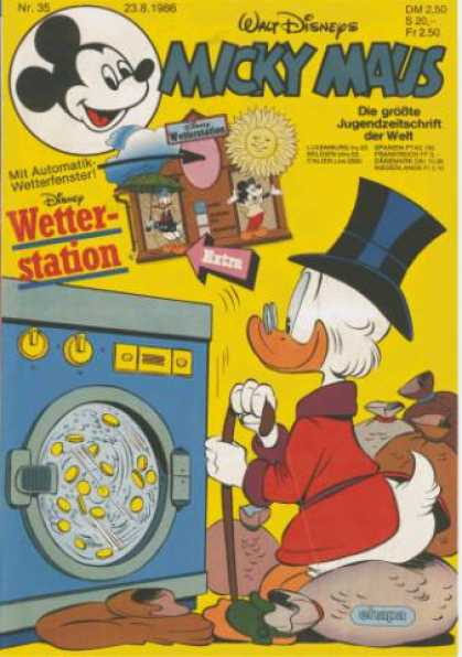 Micky Maus 1518 - Disney - Washing Machine - Uncle Scrooge - Coins - Money Bag