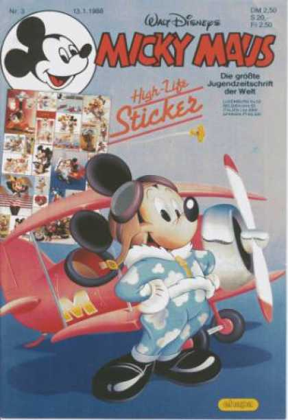 Micky Maus 1552 - Pilot - Plane - Mouse - Goggles - Wings