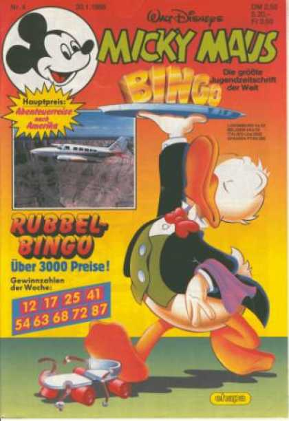 Micky Maus 1553 - Bingo - Rubbel Bingo - 3000 Preise - Airoplane - Plate With Food