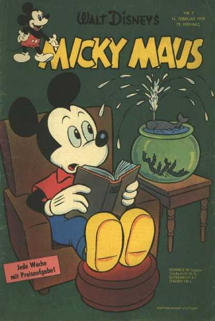 Micky Maus 165 - Mickey Mouse - Fish Bowl - Mini Whale - Reading - Surprised