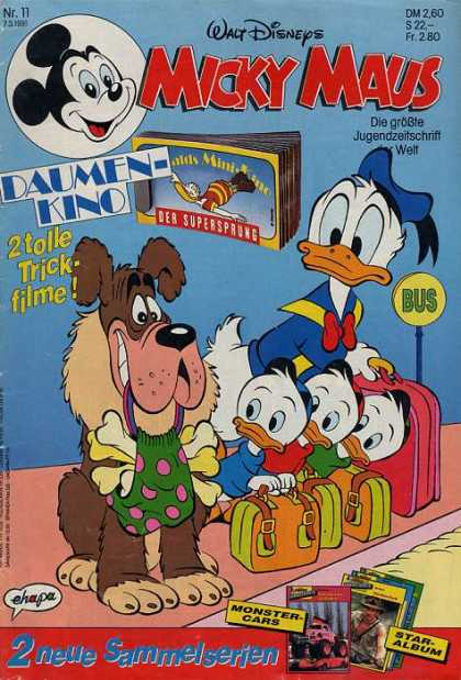 Micky Maus 1690 - Dog - Suitcases - Bus Stop - Bones - Donald Duck