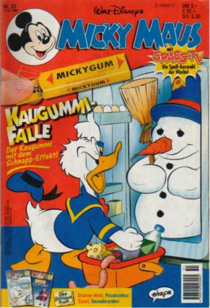 Micky Maus 1945 - Donald Duck - Snowman With Broom - Carrot - Swiss Cheese - Sausages