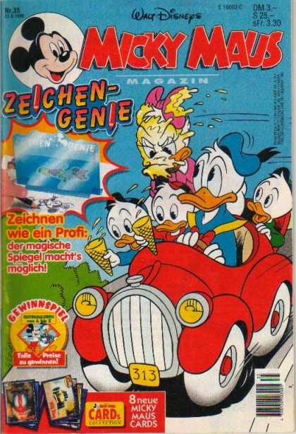 Micky Maus 1981 - Walt Disney - Donald Duck - Daisy Duck - Car - Ice Cream