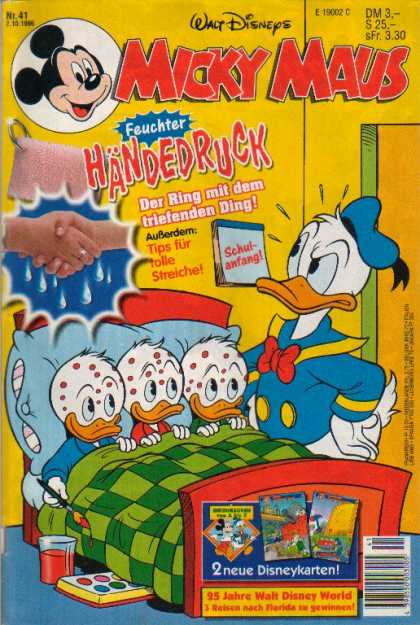 Micky Maus 1987 - Walt Disneys - Donald Duck - Hands - Bed - Paints