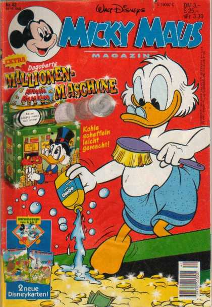 Micky Maus 1988 - Walt Disney - Uncle Scrooge - Mickey - Bathing In Money - Towel