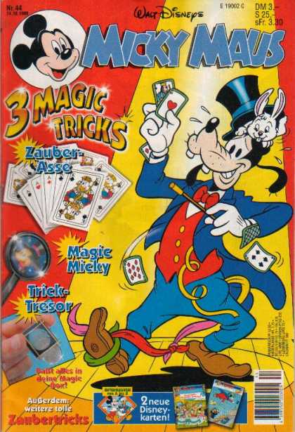 Micky Maus 1990 - Rabbit - Cards - 3 Magic Tricks - Mouse - Dog