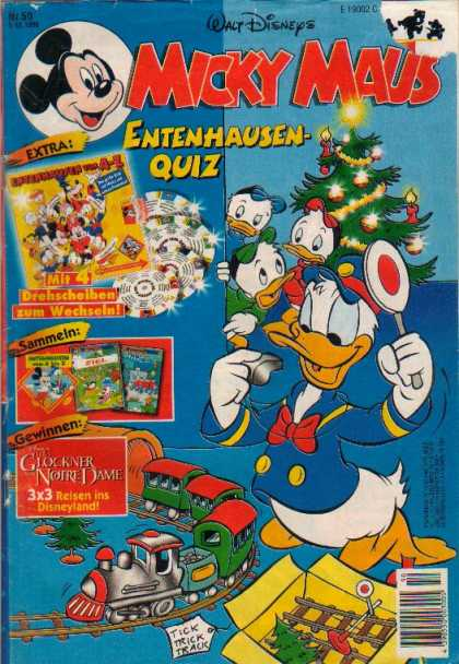 Micky Maus 1996 - Christmas Tree - Train - Donald Duck - Nephews - Blue