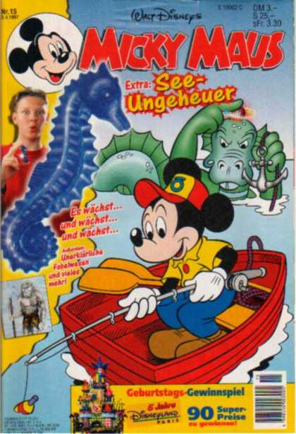 Micky Maus 2013 - Mickey Mouse - Mickey Mouse Rowing A Boat - See-ungeheuer - Sea Horse - Mouse In A Boat