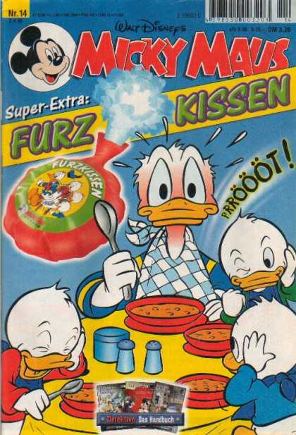 Micky Maus 2065 - Donald Duck - Nephews - Whoopie Cushion - Bowls - Table