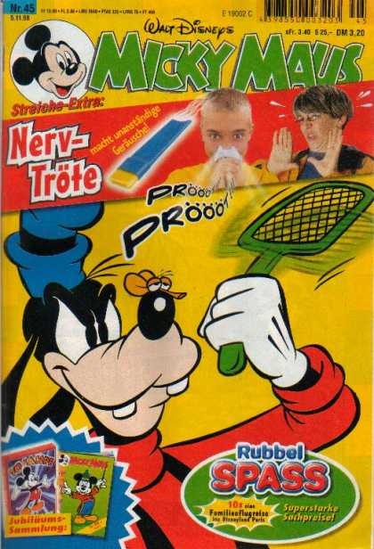 Micky Maus 2096 - German Comic - Goofy With Fly Swatter - 2 Boys On Front - Noise Maker For Nose - Walt Disney In German