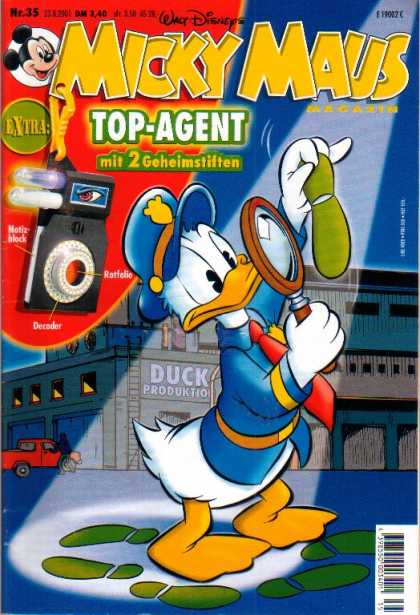Micky Maus 2242 - Donald Duck - Top-agent - Foot Print - Disney - Magnifine Glass