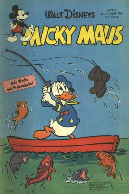 Micky Maus 253 - Walt Disneys - Donald Duck - Fish - Boat - Fishing Pole