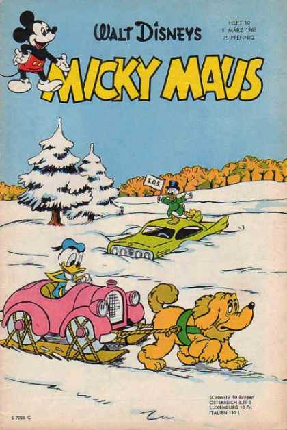 Micky Maus 377 - Donald Duck - Sled - Snow - Car - Sos