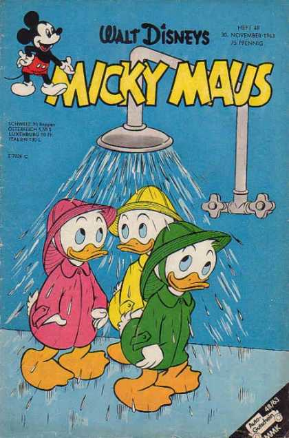 Micky Maus 415 - Shower - Water - Ducks - Raincoats - Walt Disney