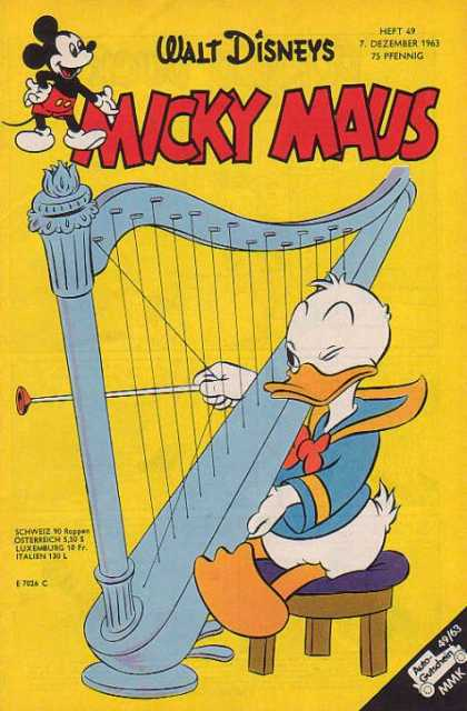 Micky Maus 416 - Donald Duck - Harp - Plastic Arrow - Walt Disney - Wood Stool