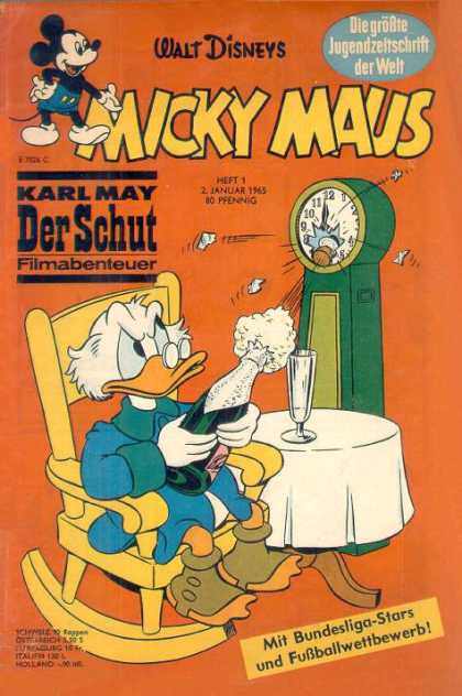Micky Maus 472 - Scrooge Mcduck - Champagne - Clock - Rocking Chair - Table