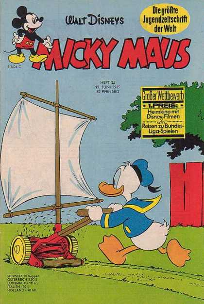Micky Maus 496 - Donald Duck - Lawn Mower - Sail - Tree - Red Fence