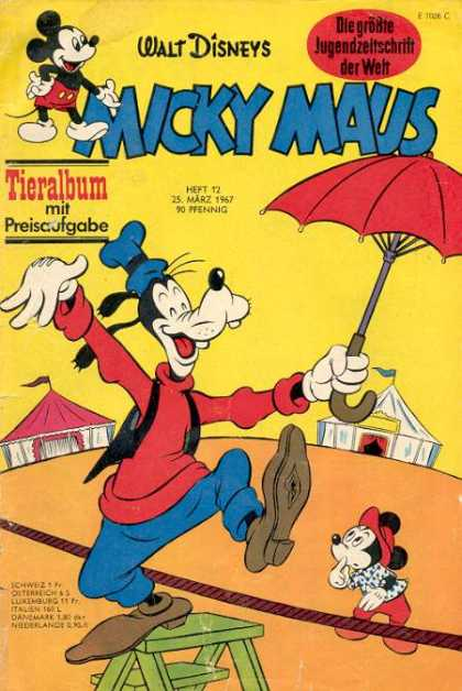 Micky Maus 588 - Goofy - Walt Disney - German - Umbrella - Rope
