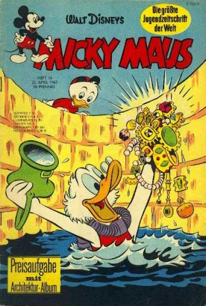 Micky Maus 592 - Gold - Donald Duck - Swimming - Face Mask - Diamonds