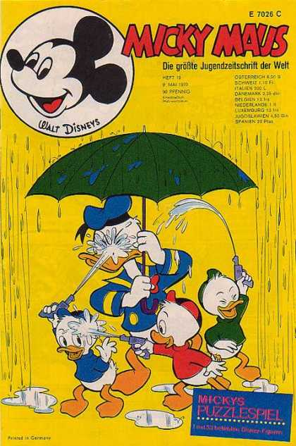 Micky Maus 751 - Donald Duck - Huey - Louie - Dewey - Umbrella