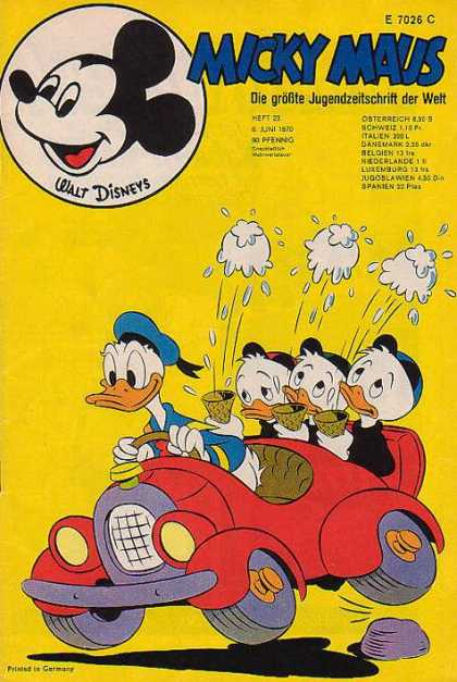 Micky Maus 755 - Walt Disneys - Ice Cream Cone - Red Car - Blue Hat - Duck
