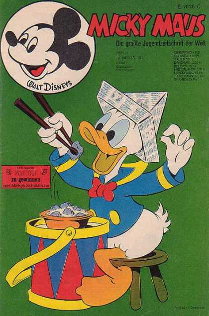 Micky Maus 787 - Donald Duck - Paper Hat - Chopsticks - Stool - Drum