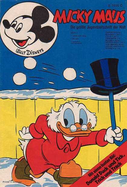 Micky Maus 837 - Disney - Snowbals - Top Hat - Uncle Scrooge - Fence