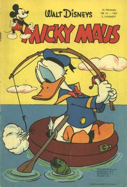 Micky Maus 91 - German - Mickey Mouse - Walt Disney - Donald Duck - Fishing