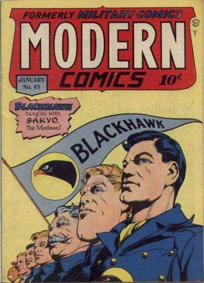 Modern Comics 45 - January - Blackhawk - 10 Cents - Blonde - Sakyo