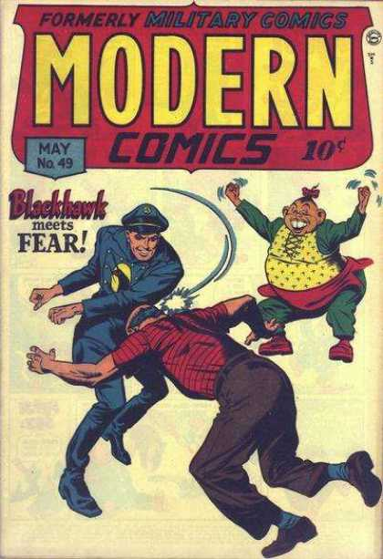 Modern Comics 49 - Military Comics - May No 49 - Blackhawk Meets Fear - Superb Punch - Fat Man