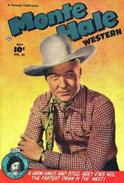 Monte Hale Western 36 - Cowboy - Scarf - Shirt - Arm Band - Grim Smile And Pale Grey Eys
