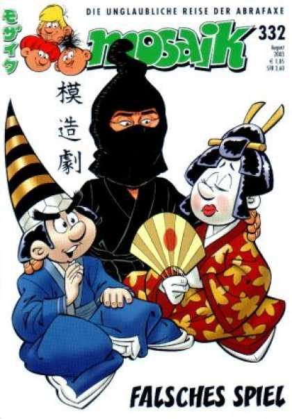 Mosaik 545 - 332 - Ninja In Hood - Geisha - Guy With Pointy Hat - Gold And Black Striped Hat