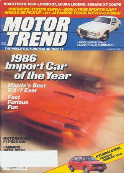 Motor Trend - March 1986