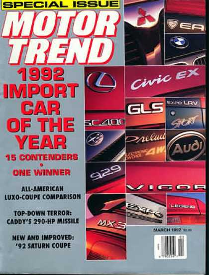 Motor Trend - March 1992