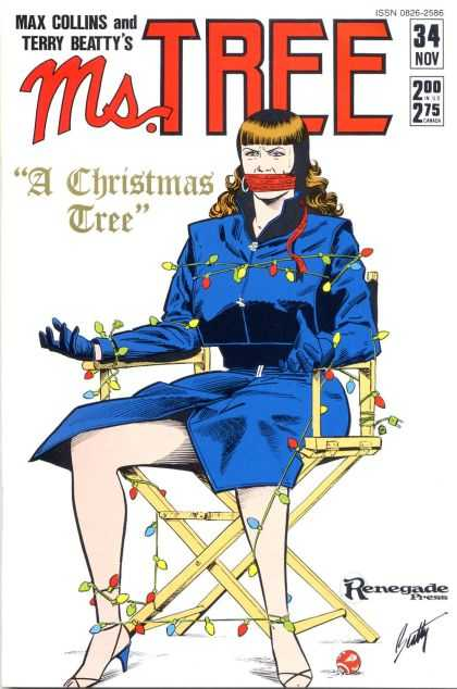 Ms. Tree 34 - Tied Up In Christmas Lights - Director Chair - Blue Dress - Red Gag - Renegade Press