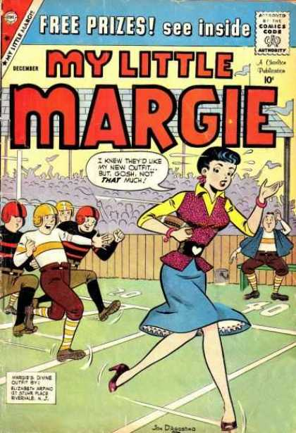 My Little Margie 27 - Football Players - Woman Running With Football - I Knew Theyd Like My New Outfit But Gosh Not That Much - December - Elizabeth Arpino