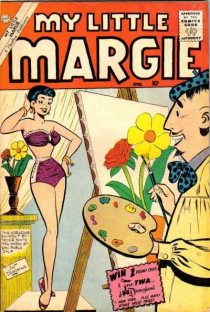 My Little Margie 29 - Artist - Pin-up Girl - April - Swimsuit - Easel