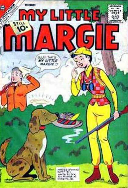 My Little Margie 39 - Binoculars - Hat With Feather - Hunting Dogs - Rifle - Tree And Bushes