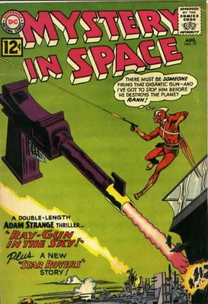 Mystery in Space 77 - Mystery In Space - Gun - Flying Men - Building - Firing
