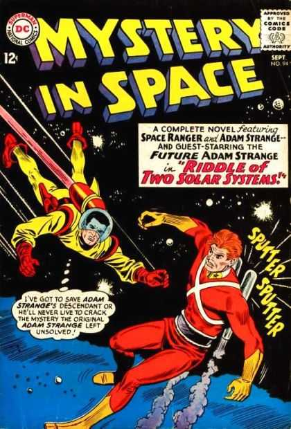 Mystery in Space 94 - Riddle Of Two Solar Systems - Space Ranger - Adam Strange - Future Adam Strange - Yellow And Orange Space Suits