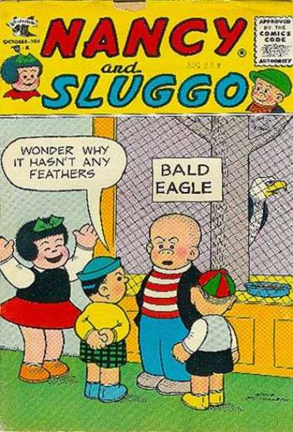 Nancy and Sluggo 137 - Bald Eagle - Approved By The Comic Code - Beanies - Tree - Hair Bow