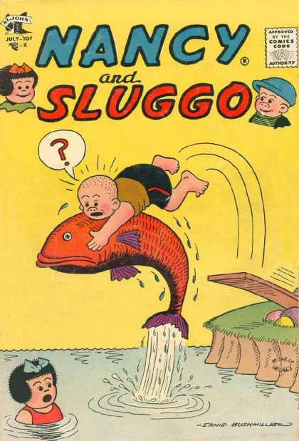 Nancy and Sluggo 145 - Water - One Little Boy - One Little Girl - Fish - Dive