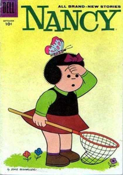Nancy and Sluggo 158 - Grass - Flowers - Butterfly - Black Hair - All Brand-new Stories