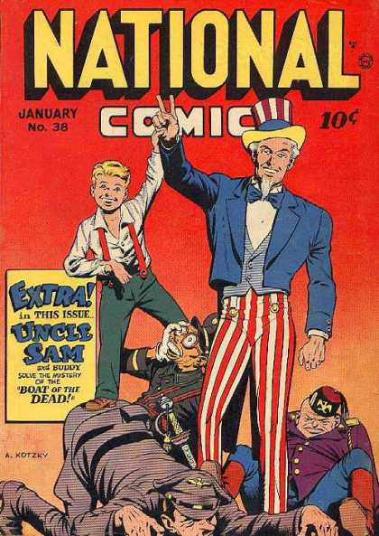 National Comics 38 - Uncle Sam - Boy - Soldiers - World War Ii - Caricatures