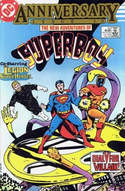 New Adventures of Superboy 50 - Anniversary Issue - Legion Superheroes - Dial V For Villian - Superman - Masked Man - Keith Giffen
